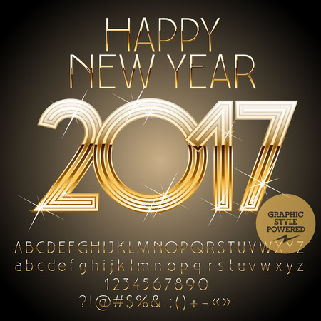 golden Happy New Year 2017 greeting card with set of letters, symbols and numbers. File contains graphic styles