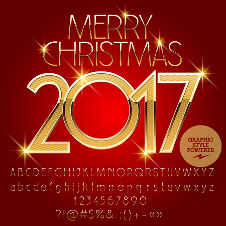 gold Merry Christmas 2017 greeting card with set of letters, symbols and numbers. File contains graphic styles