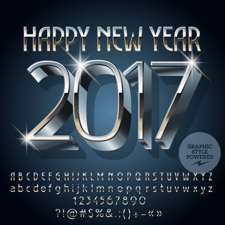 silver shiny Happy New Year 2017 greeting card with set of letters, symbols and numbers. File contains graphic styles