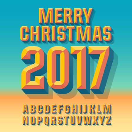 abstract letters: abstract Merry Christmas 2017 greeting card with set of letters