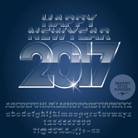 glass ice Happy New Year 2017 greeting card with set of letters, symbols and numbers. File contains graphic styles