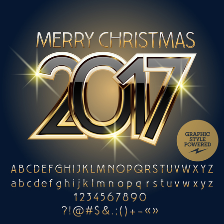 black and gold Merry Christmas 2017 greeting card with set of letters, symbols and numbers. File contains graphic styles Illustration