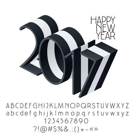 Vektor streifte guten Rutsch ins Neue Jahr 2017 Grußkarte mit Satz Buchstaben, Symbolen und Zahlen
