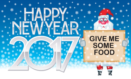 Happy New Year 2017 vector greeting card with Santa Claus asking for food