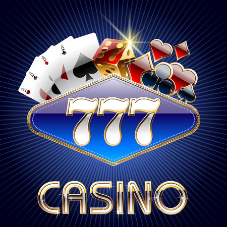 gambling game: Vector casino card with text 777