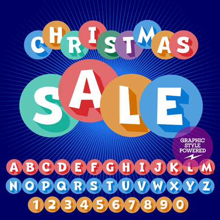 Vector bright Christmas sale emblem with set of letters, symbols and numbers. File contains graphic styles