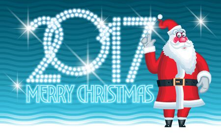 Merry Christ,as 2017 vector greeting card with Santa Claus and shiny text
