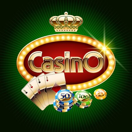 Vector casino banner with golden royal crown