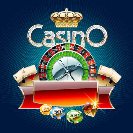 Vector casino card on blue background