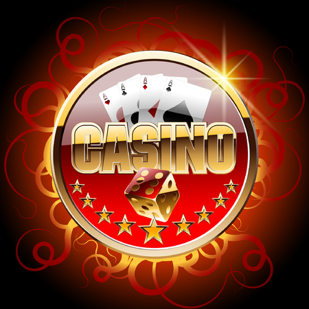 Vector casino card with flame ornament