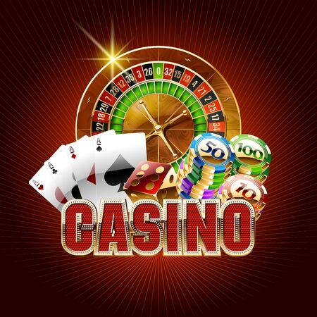 Vector casino card on red background Ilustrace