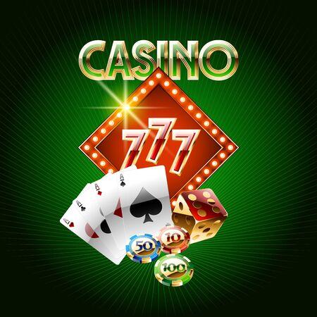 Tarjeta de casino vector sobre fondo verde Foto de archivo - 69073579