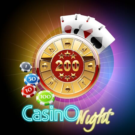 Colorful vector casino banner with cards and chips