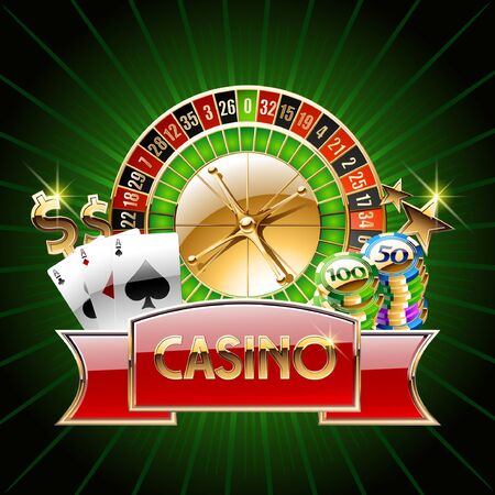 Vector casino banner with cards roulette wheel chip coins on green background