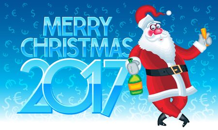 Vector Happy New Year 2017 greeting card with Santa Claus with bottle of champagne