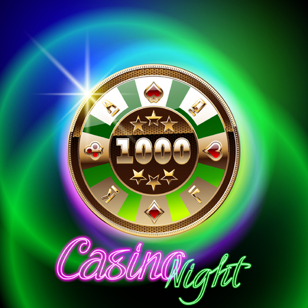 Colorful vector  for casino with neon text