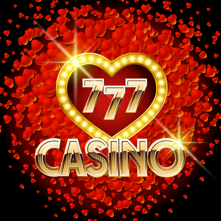 Vector casino poster with heart romantic theme