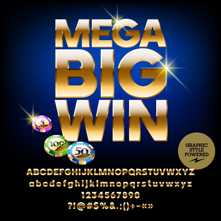 Vector casino poster Mega big win. Set of letters, numbers and symbols. Contains graphic style