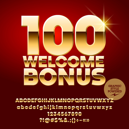 Vector casino banner 100 Welcome Bonus. Set of letters, numbers and symbols. Contains graphic style Illustration