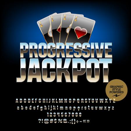 progressive: Vector casino emblem Progressive jackpot. Set of letters, numbers and symbols. Contains graphic style Illustration
