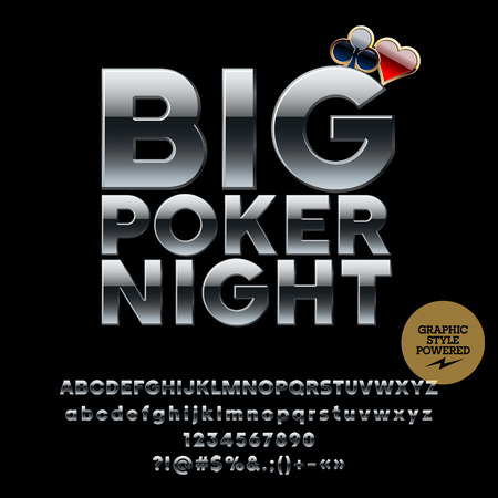 Vector casino metallic logo Big poker night. Set of letters, numbers and symbols. Contains graphic style