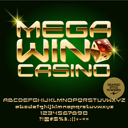 Vector casino sign Mega win casino. Set of letters, numbers and symbols. Contains graphic style