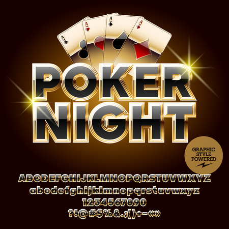 Vector casino icon Poker night. Set of letters, numbers and symbols. Contains graphic style