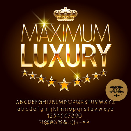 Vector royal casino golden logo Maximum luxury. Set of letters, numbers and symbols. Contains graphic style Stock Vector - 72205346