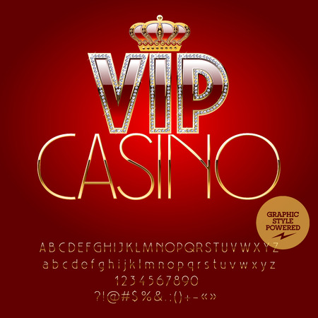 golden symbols: Vector royal casino golden sign Vip casino. Set of letters, numbers and symbols. Contains graphic style Illustration