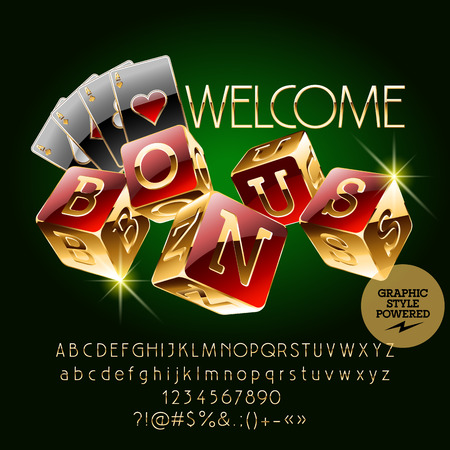 golden symbols: Vector casino golden banner Welcome. Set of letters, numbers and symbols. Contains graphic style