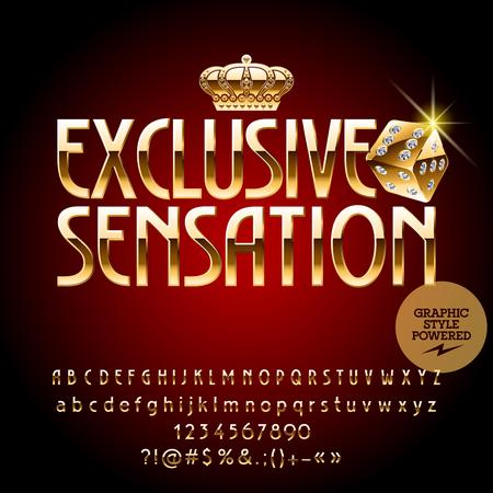 Vector royal casino golden emblem Sensación exclusiva. Conjunto de letras, números y símbolos. Contiene estilo gráfico