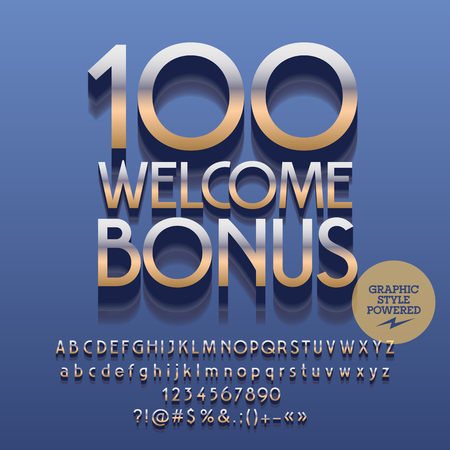 Vector casino reflective sign 100 welcome bonus. Set of letters, numbers and symbols. Contains graphic style Illustration