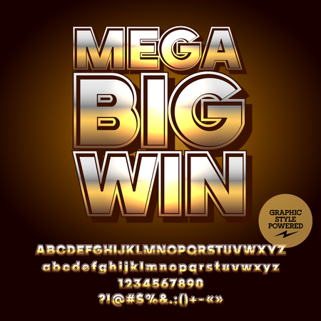 Vector casino gold poster Mega big win. Set of letters, numbers and symbols. Contains graphic style.