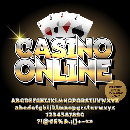 Vector golden banner Casino online. Set of letters, numbers and symbols. Contains graphic style