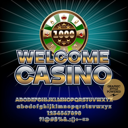 Vector golden icon Welcome casino. Set of letters, numbers and symbols. Contains graphic style