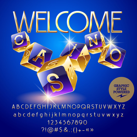 Vector golden and violet logo Welcome casino. Set of letters, numbers and symbols. Contains graphic style.