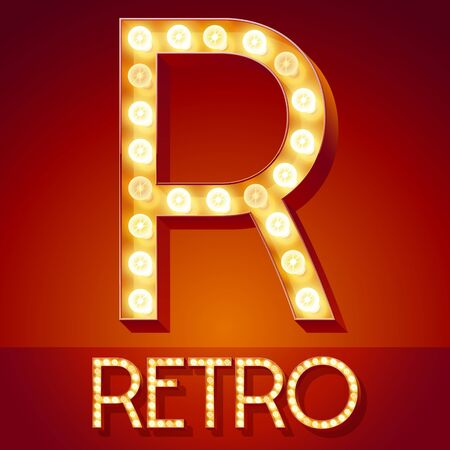 Chic retro light up font with glowing lamp.
