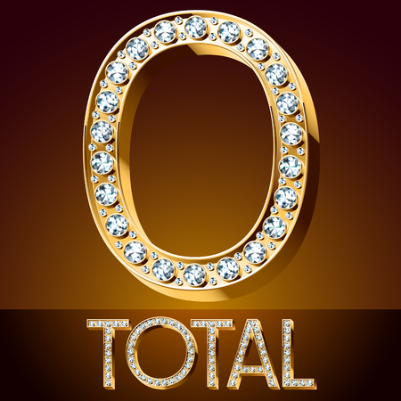 O total Vector chic font luxury brilliant. Gold number 0. 向量圖像