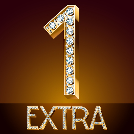 diamond letters: extra Vector chic font luxury brilliant. Gold number 1.