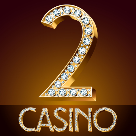 diamond letters: 2 casino Vector chic font luxury brilliant. Gold number 2.