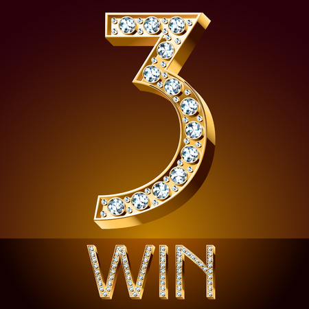 symbol. punctuation: 3 win Vector chic font luxury brilliant. Gold number 3