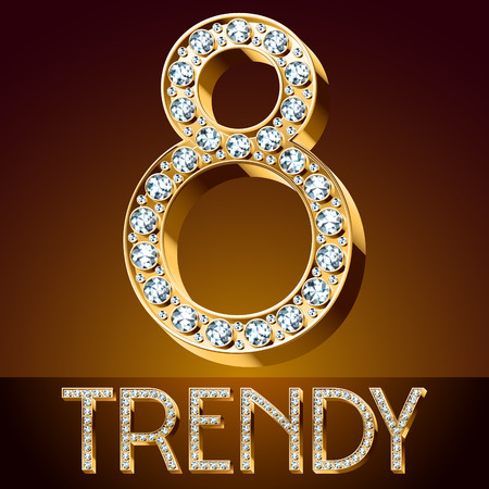 Cute Vector chic font luxury brilliant. Gold number 8.