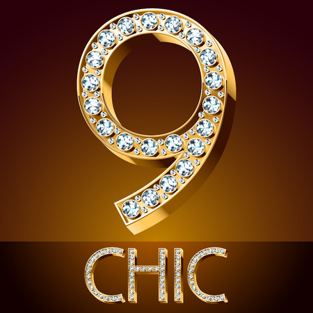 Vector chic font luxury brilliant. Gold number 9 Illustration