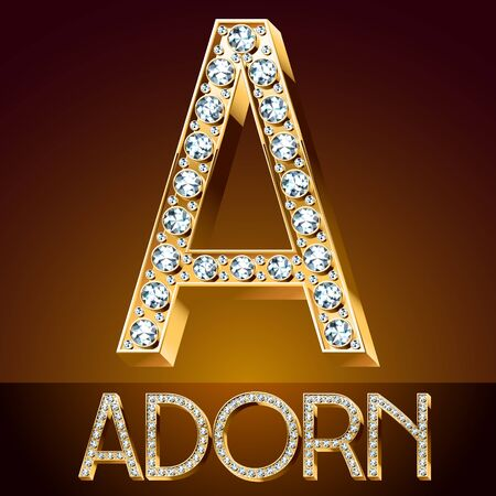 diamond letters: Vector chic font luxury brilliant. Gold letter A
