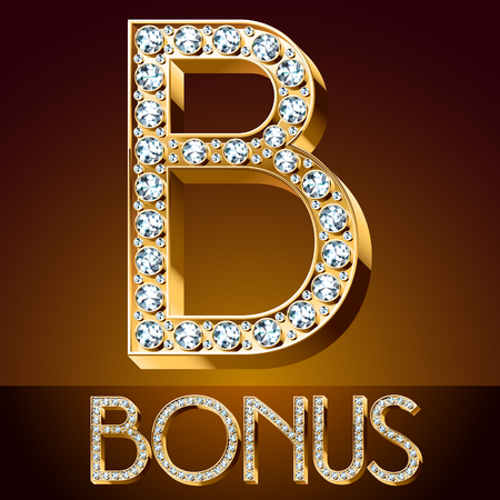 A Vector chic font luxury brilliant. Gold letter B.