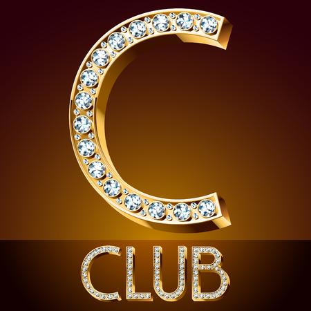 symbol. punctuation: C club Vector chic font luxury brilliant. Gold letter C. Illustration