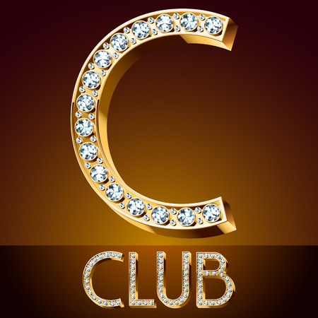 C club Vector chic font luxury brilliant. Gold letter C. Illustration