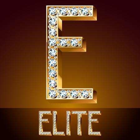 Vector chic font luxury brilliant. Gold letter E