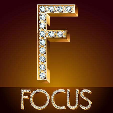 Vector chic font luxury brilliant. Gold letter F Çizim
