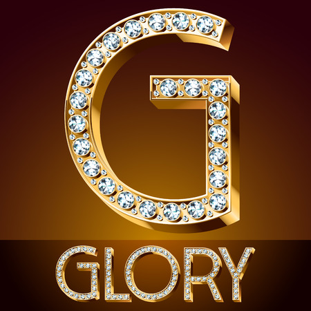 style wealth: A Vector chic font luxury brilliant. Gold letter G.